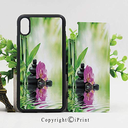 (iPhone x Case,Orchids and Rocks in The Mineral Rich Spring Water Spiritual Deep Treatment Cure Image Sturdy Non-Slip Case Lightweight Shell Protective for iPhone X,Green Black Pink)