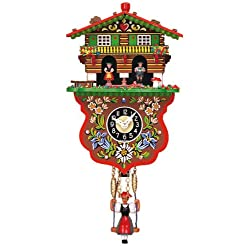 Mechanical Swinging Doll Clock with Weather House, 7.5 Inch