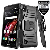 LG Tribute HD Case / LG X Style Case With Tempered Glass Screen Protector,IDEA LINE(TM) Heavy Duty Armor Shock Proof Dual Layer Holster Locking Belt Swivel Clip with Kick Stand - Black