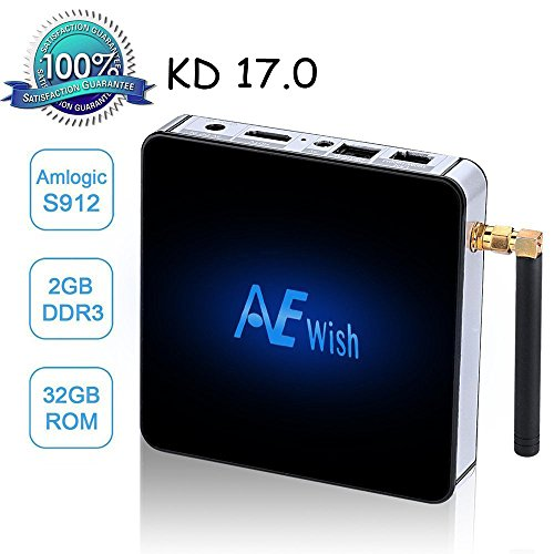ANEWISH Android Box, Android 6.0 Tv Box Streaming Media Player Amlogic S912 Octa Core 2G/32G 4K 1000M Ethernet, Fully Loaded KD 17.0, Support Dual Wifi 2.4G/5G Bluetooth 4.0 (Android Xbmc Tv Box compare prices)