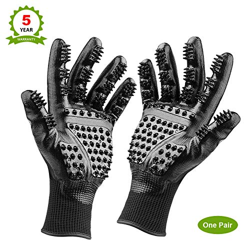 Pet Grooming Glove: Cat, Horse & Dog Deshedding Gloves with Soft Rounded Nubs & Adjustable Wrist Strap - Pair of Flexible Brush Mitts for Shedding, Bathing, Massaging & Hair Removal (Black)