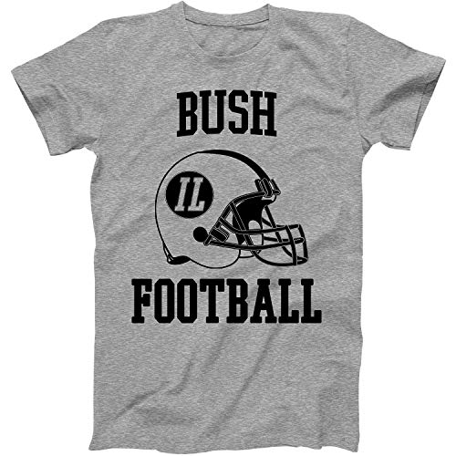 Vintage Football City Bush Shirt for State Illinois with IL on Retro Helmet Style Grey Size Large