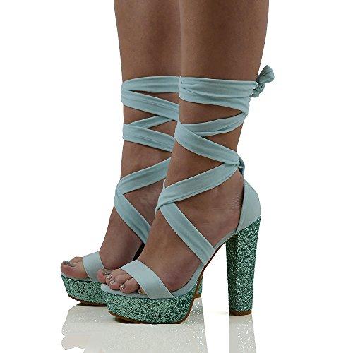 Essex Glam Donna Lace Up Glitter Tacco Piattaforma In Finta Pelle Scamosciata Sandali Con Lacci Blu Pastello In Finta Pelle Scamosciata