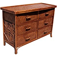 Hospitality Rattan 401-5300-TCA Cancun Palm Six Drawer Dresser