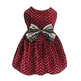 Fitwarm Christmas Dog Dresses for Pet Clothes Cat Vest Dresses Apparel Lightweight Velvet Red Large
