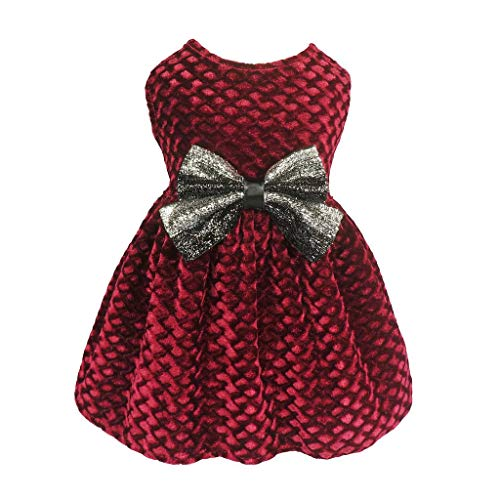 Fitwarm Christmas Dog Dresses for Pet Clothes Cat Vest Dresses Apparel Lightweight Velvet Red