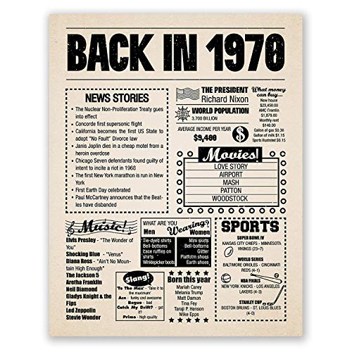 8x10 1970 Birthday Gift // Back in 1970 Newspaper Poster // 49th Birthday Gift // 49th Party Decoration // 49th Birthday Sign // Born in 1970 Print