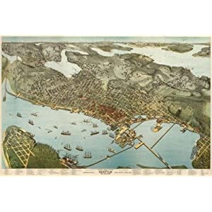 Seattle ~ 1891 ~ Vintage Map ~ Birds Eye View ~ Lithographic Reproduction Drawn By Agustus Koch