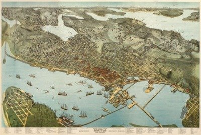 Amazon.com: Seattle ~ 1891 ~ Vintage Map ~ Birds Eye View