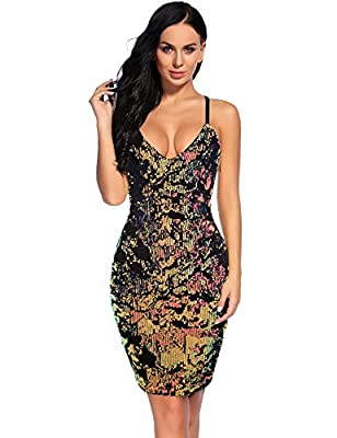Flapper Girl Women's Sexy V Neck Sequin Cocktail Backless Dress