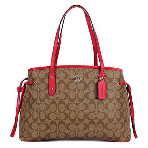 Coach Signature PVC Drawstring Carryall Shoulder Bag Khaki/Bright - Uk Coach Stores