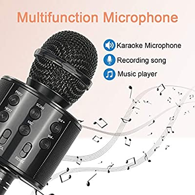 Viposoon Best Gifts for Kids, Wireless Karaoke Microphone Bluetooth for Birthday Gifts for 4-12 Year Old Girls Boys for Girls Age 4-12 Christmas Xmas Stocking - Black: Musical Instruments