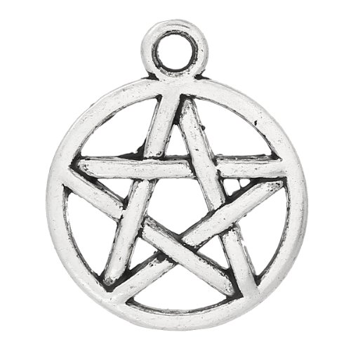 Housweety 50 Silver Tone Pentagram Charms Pendants 20x17mm
