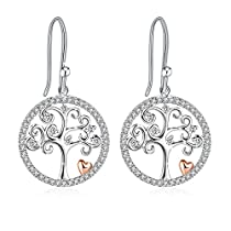 Earrings, 925 Sterling Silver 3A Cubic Zirconia Earrings, J.Rosée Fine Jewelry for Mothers Day, Idea Gift with Exquisite Package for Women Tree ofLife
