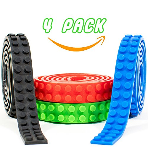 Lego Tape Roll Strips Sticky Reusable Self-Adhesive Building Bricks. Toys Flexible Enough To Stick and Build On Any Surface. Educational and Creative. 4 Pack (Red, Green, Blue, Black) 13.1 Feet Total (Christmas Tree Cutting Games)