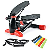 Fitness Stair Stepper, Mini Air Climber Twist Stair Stepper for Exercise Machine with Resistance Band and LCD Display for Office Household Gym Indoor Sport