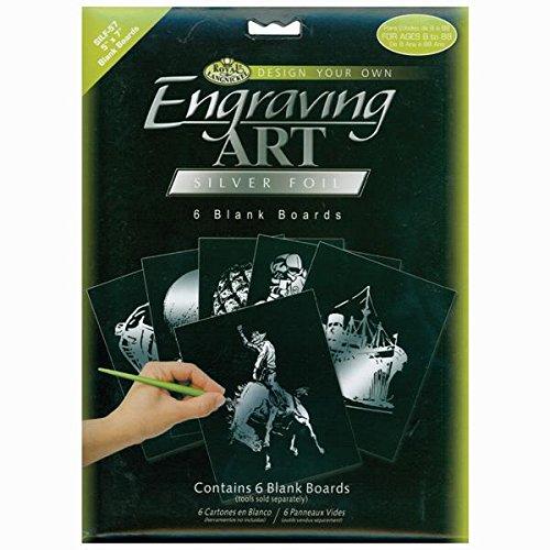 Royal & Langnickel Engraving Art Silver 5 x 7 inch Blank Board (Pack of 6) BEF57-SILF
