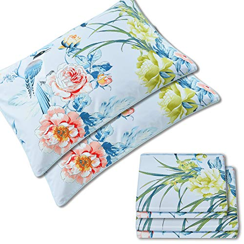 Warm Day Shabby Flower Luxury Peony 4 Pcs Bed Sheet Set Pillowcases/Shams Farmhouse Flower 800 Thread Count Flat Fitted Sheet Magpie Orchid Bird Boho Damask Floral Bedding Set-Queen Size-34