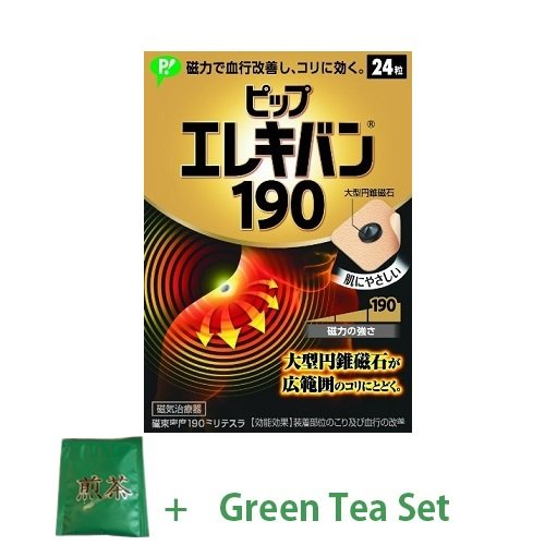 pip-erekiban-pain-relief-patches-magnetic-flux-density-190mt-24-pieces-green-tea-set