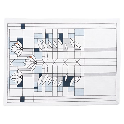 (KAF Home Frank Lloyd Wright Printed Table Placemat 13 x 17-inch 100-Percent Cotton Set of 4 (Water Lilies))