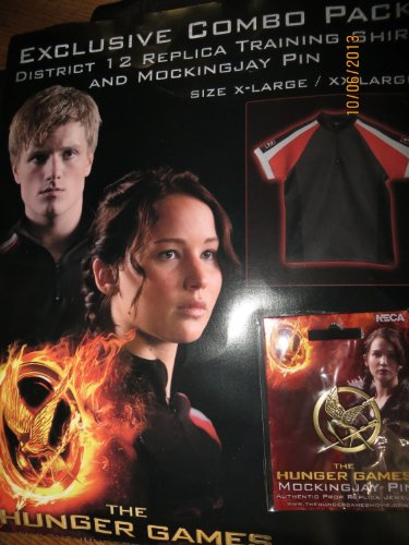 The Hunger Games Katniss Everdeen Costume Size X-Large/XX-Large: District 12 Training Shirt and Mockingjay Pin Exclusive Combo Pack by (Katniss Everdeen Halloween Costumes)