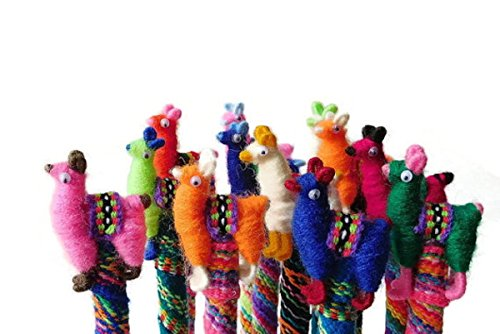 Three Writing Pens Llama Alpaca Doll Peru Set Mix Pack Artisan Made 001158