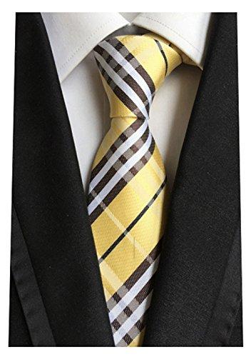 Silk Woven Classic Check Men's Business Tie Necktie Plaid Ties ,Yellow,One ()