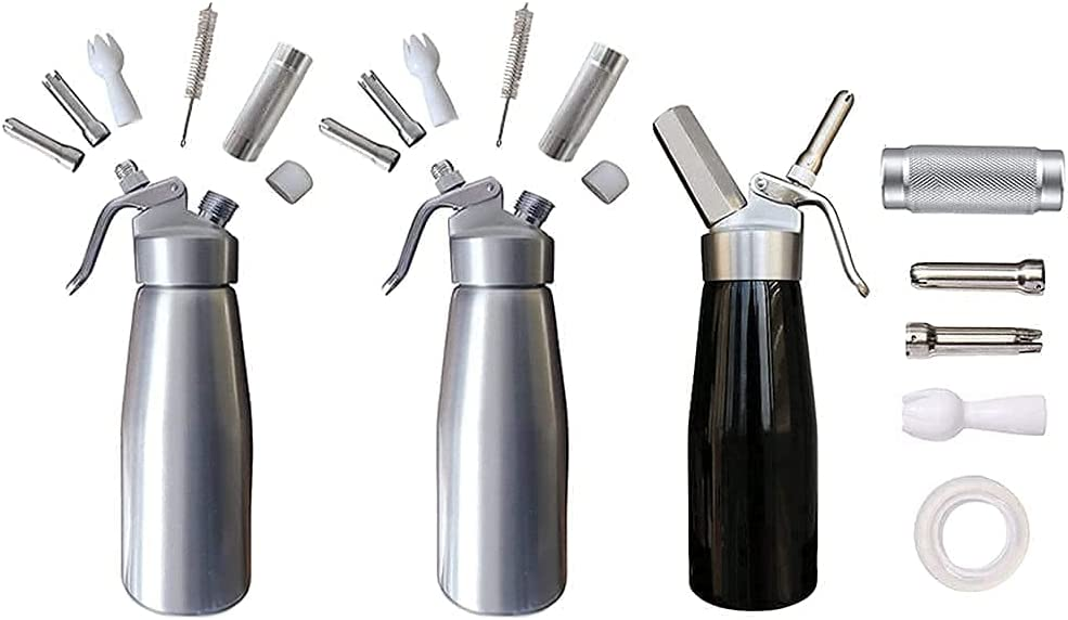 2 Silver and 1 Black And Replacement Parts Whipped Cream Dispenser Whip Cream Maker Home Brew Refill Kit