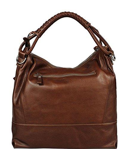 Schöne praktische Leder Braune Handtasche aus Leder Gloria Marrone über die Schulter
