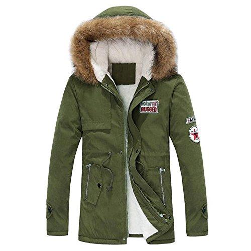 (Men Coat With Fur Hood Cardigan Sweater Hooded Coat Jacket Sweatshirt Outwear By Orangeskycn (Army Green, L))