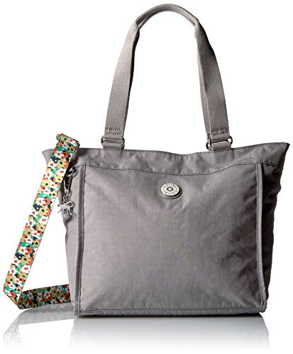 Kipling Shopper Small Solid Tote with Printed Straps, Slate Grey (Zip Bag Shopper)