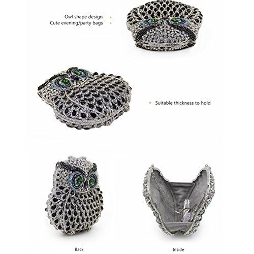 JESSIEKERVIN Women Crystal Chain Bag Clutch Owl Purse Handbag Shiny Wedding Gray Evening ASr4qAw