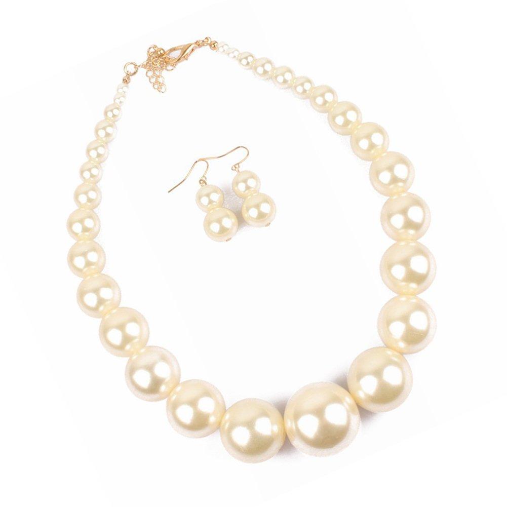 Large Black//Whtie Faux Pearl Necklace Jwelry Set for Women Girls Pearls Drop Dangle Earrings