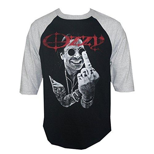 OZZY OSBOURNE Middle Finger Portrait Raglan Baseball T-Shirt (Finger Black T-shirt)