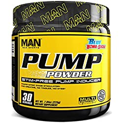 MAN Sports Pump Powder Stimulant-Free Pre-Workout Nitric Oxide Supplement, Blue Bomb-Sicle, 30 Servings, 225 Grams