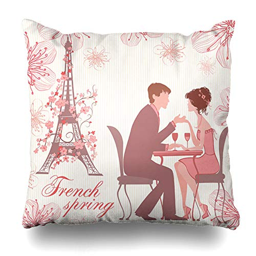 Ahawoso Throw Pillow Cover Square 18x18 French Pink Spring Warm Beauty Couple On Emotion Abstract People Eiffel Holidays Nice Paris France Decorative Cushion Case Home Decor Zippered Pillowcase