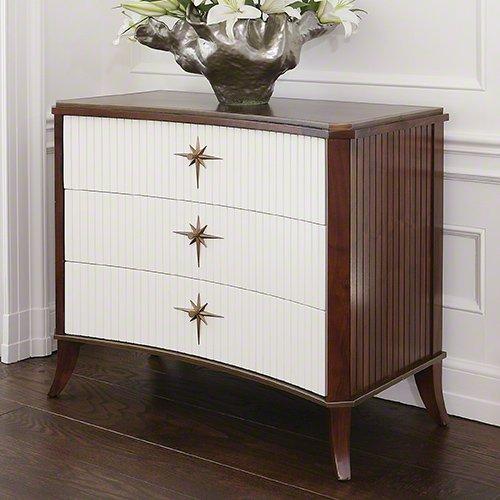 Global Views Klismos 3 Drawer Cabinet with White Doors, Oversized Item