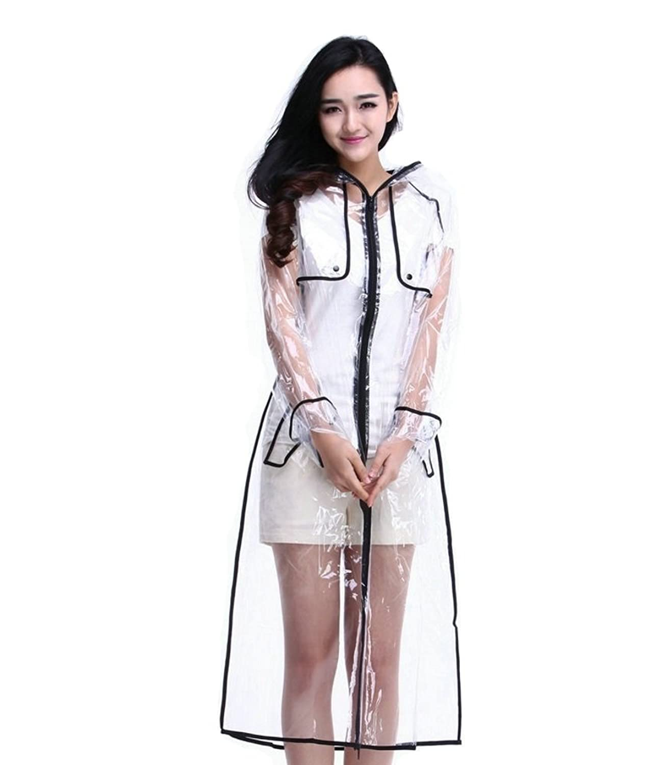 1960s Inspired Fashion: Recreate the Look Mengshas Transparent Fashionable EVA Vinyl Womens Waterproof Raincoat Runway Style with Zipper $24.99 AT vintagedancer.com
