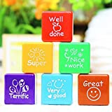 Teachers Stamper Self Ink Reward Marking Stamp Motivation Sticker School Kid DIY Curved Remark