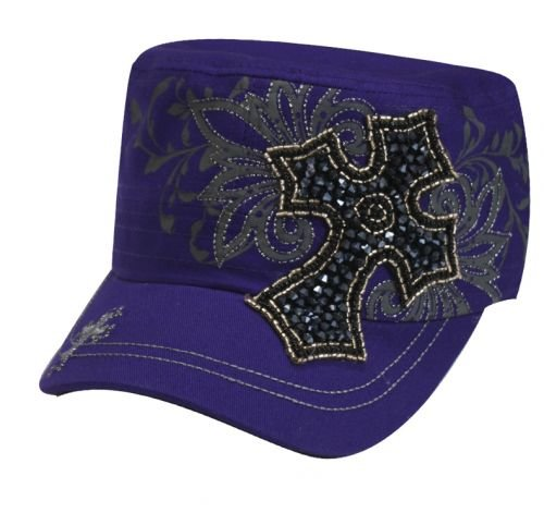 Ladies Military Cargo Style Hat With Western Beaded Cross and Filigree Design (Purple)