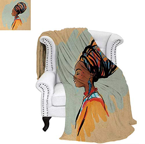 "Throw Blanket Watercolor Profile Portrait of Native Woman with Ethnic Hairdo and Earrings Warm Microfiber All Season Blanket for Bed or Couch 80""x60"" Multicolor"