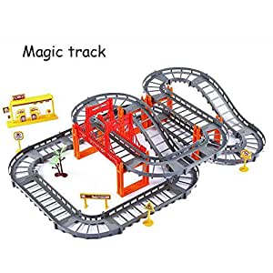 73 Pcs Toy Car Rail Vehicle Speed Rail Electric PuzzleToy Stall Multi-layer Track Race