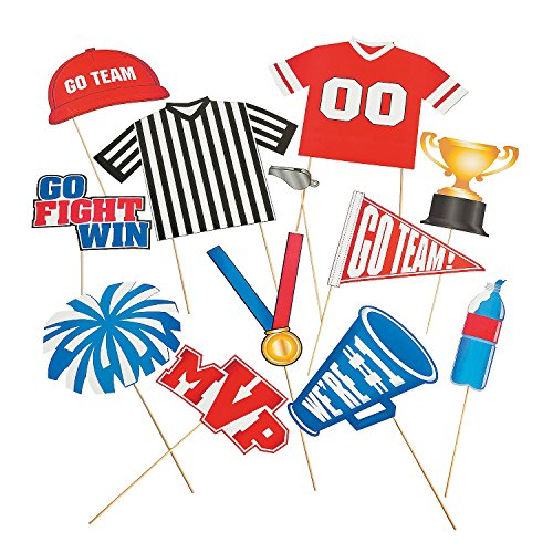 Go Team Fight Win Sports Party Photo Booth Stick Props