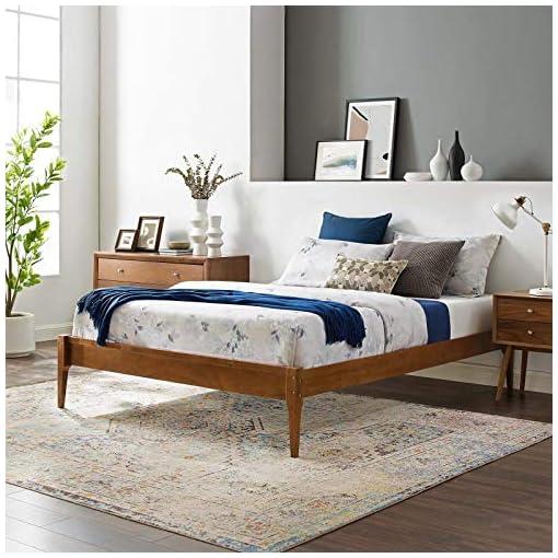 Bedroom Modway MOD-6244-WAL June Twin Wood Platform Bed Frame, Walnut modern beds and bed frames
