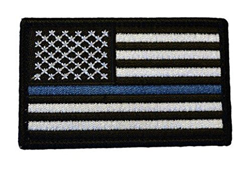 American Flag Patch, Thin Blue Line (Lines Men Flags)