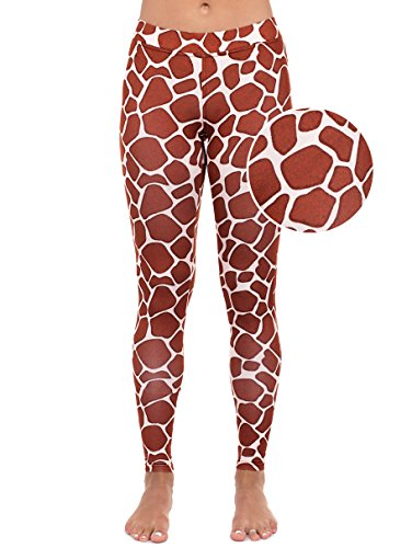 Giraffe Leggings - Giraffe Animal Print Tights for Women: Small