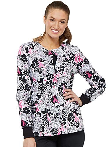 Cherokee Fashion Prints Women's Snap Front Floral Print Scrub Jacket Xx-Small Print
