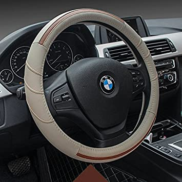 Easy Installation HCMAX Vehicle Steering Wheel Cover Quality Comfy Car Steering Wheel Protector Universal Diameter 38cm Genuine Leather Red 15