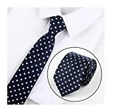 Men Boys Navy Blue White Silk Elegant Neck Ties Best Neckties for Boyfriend Gift