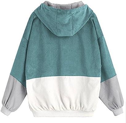 ZAFUL Womens Raglan Sleeve Drop Shoulder Color Block Corduroy Hooded Jacket